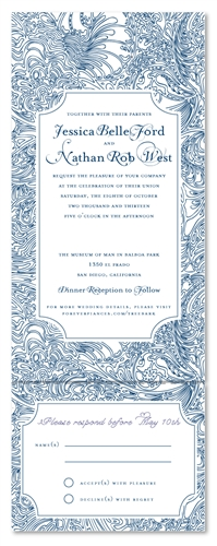 All In One Wedding Invitations On Seeds Paper ~ Tree Bark (blue/black/