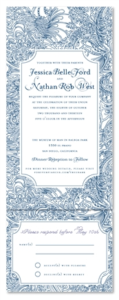 All in One Wedding Invitations on Seeds Paper ~ Tree Bark (blue/black/white)
