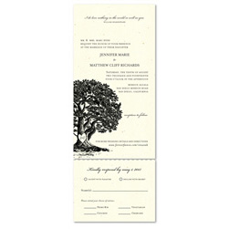 Send n Sealed Wedding invitations on 100% Recycled Paper ~ Vieux Oak tree