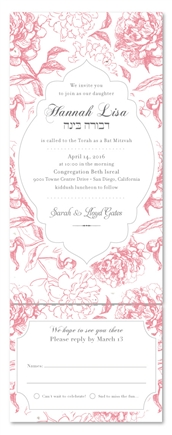 All in One Bat Mitzvah Invitations - Vintage Peonies (Send and sealed format)