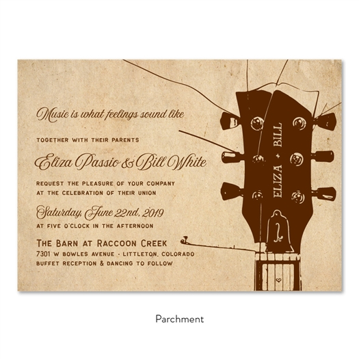 Guitar Music Wedding Invitations on premium vintage 100 recycled paper