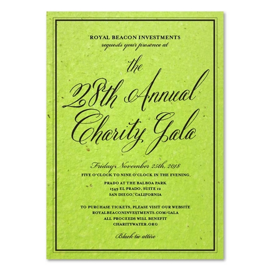 Green Corporate Event Invitations | Antique Script