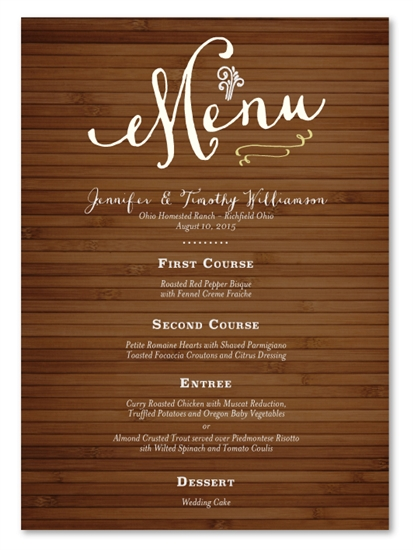 Rustic Wedding Menus on 100% recycled paper - Bamboo Board by ForeverFiances Weddings
