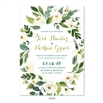 White & Green Wild Flowers Wedding Invitations | Blush Bouquet