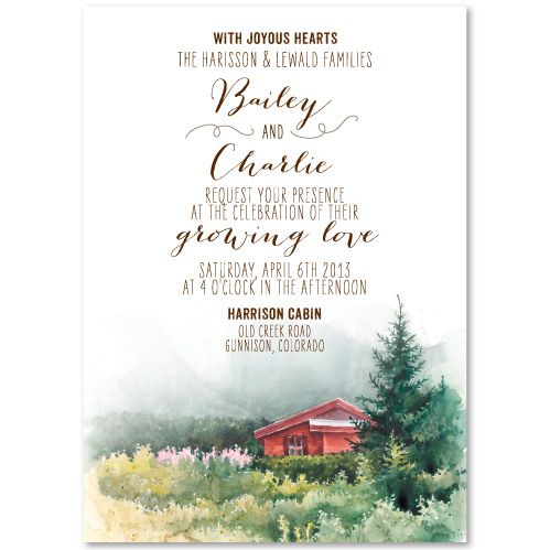 Prairie Style Wedding Invitations | Cabin in the Mountains