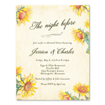 Country Sunflower rehearsal dinner invitations with vintage paper