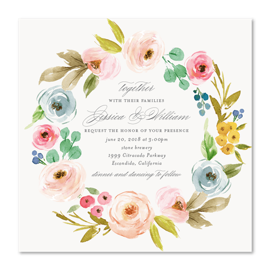 Wildflowers Wreath Wedding Invitations | Elegant Botany