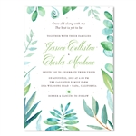 Eucalyptus Wedding Invitations | Enchanted Botany with Teal and green leaves