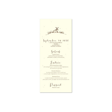 Barn Wedding Menus on haystack seeded paper
