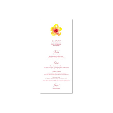 Unique Wedding Menu ~ Hibiscus from Maui