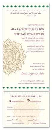 Indian Wedding Invitations ~ Old Sari (100% recycled paper)