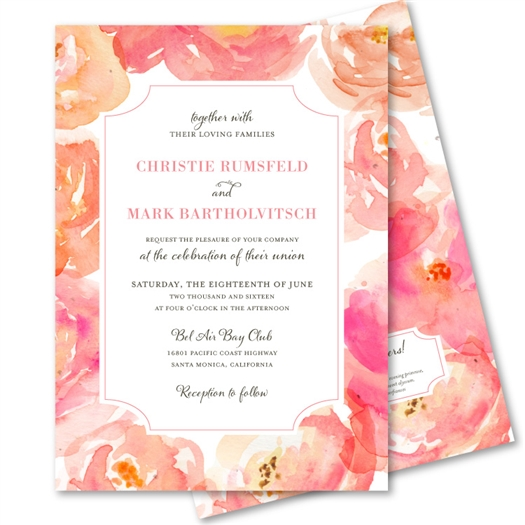 Pink Orange Peonies Wedding Invitations on plantable paper | Peony Heaven