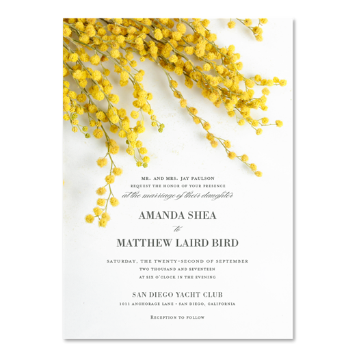 Acacia Flower Wedding Invitations with yellow mimosa