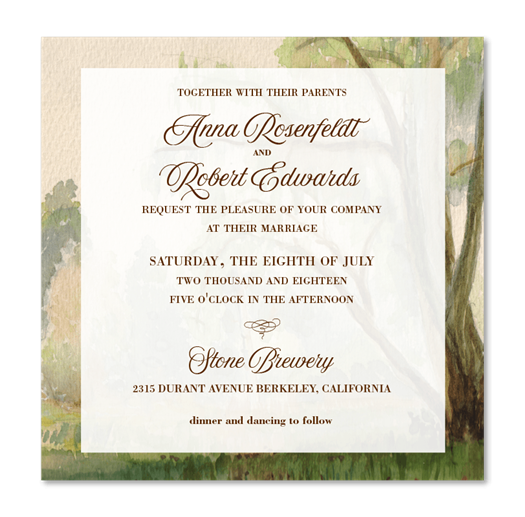 Willow Tree Wedding Invitations on square format | Willow Stories from America
