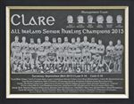 Engraved image of the Clare Senior Hurling team 2013