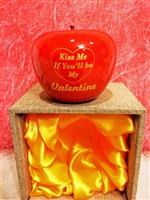 "Smooth Wooden Red Apple Valentine Gift - ""Kiss Me If You'll be My Valentine"""