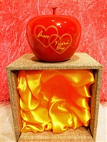 "Smooth Wooden Red Apple Valentine Gift - ""Happy Valentine's Day"""