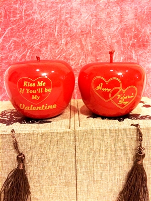 Smooth Wooden Red Apple Valentine Gift Set
