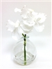 8 Inch White Vanda Orchid Silk Flower Arrangement with Glass Vase