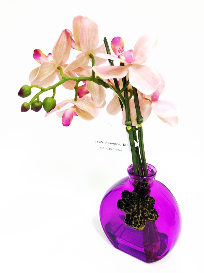 10 Pink Phalaenopsis Orchid Real Touch Artificial Flower Arrangement