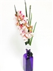 "21"" Pink Phalaenopsis Orchid Real Touch Artificial Flower Arrangement - Glass Vase"