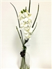 "21"" White Phalaenopsis Orchid Silk Flower Arrangement - Glass Vase"