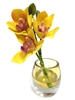"6"" Yellow Cymbidium Orchid Real Touch Artificial Flower"