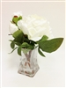 White Peony Silk Flower Arrangement Glass Vase