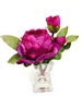 "9"" Purple Peony Silk Flower Arrangement"