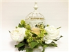 "15"" White Peony Bird Cage w/LED Candle"