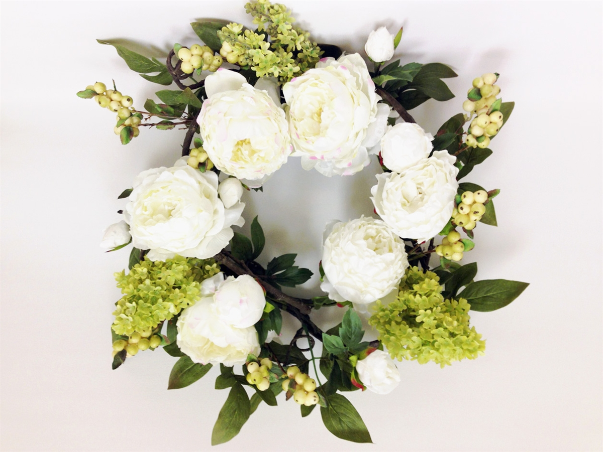 24 White Peony Silk Flower Wreath