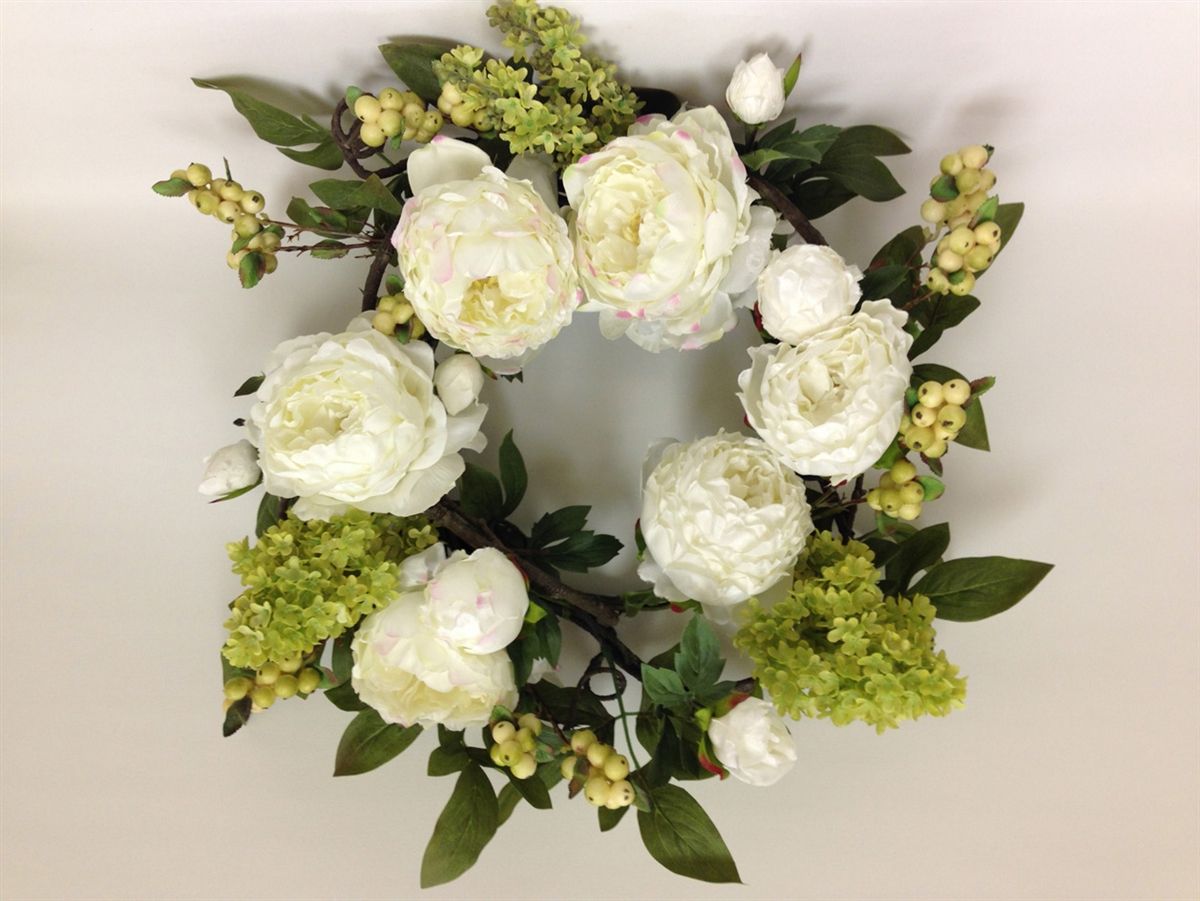 Thank You Gifts Peony Silk Flower Best White Wreath