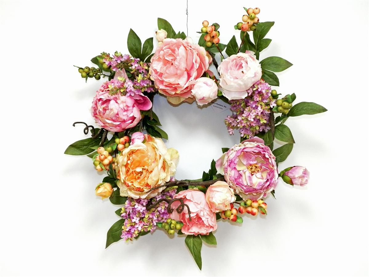 Peony silk flower wreath anniversary gift wedding flowers 24 inch silk flower wreath mightylinksfo