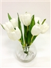"10"" White Tulip Silk Flower Arrangement - Glass Vase"
