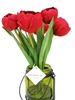 Tulip Silk Flower Arrangement Glass Vase