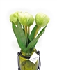 "Green 11"" Tulip Silk Flower Arrangement"