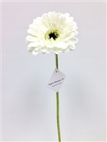White gerbera daisy silk flower stem