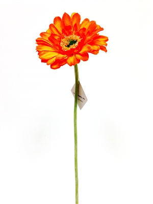 Orange gerbera daisy silk flower stem