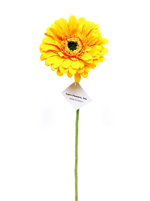 Yellow gerbera daisy silk flower stem
