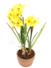 Daffodil Silk Flower Arrangement Ceramic Pot