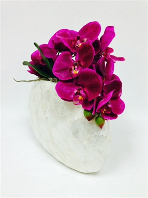 Simply Elegant Orchid Real Touch Arrangement - Pearl Round Vase Natural Shell
