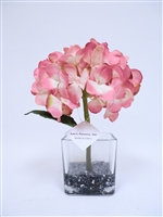 "13"" Blue Color Hydrangea Silk Flower Arrangement - Glass Vase"