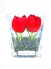 Just Tulips of US Forever-Silk Flower Arrangement - Glass Vase