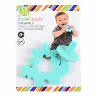 100% Silicone Teether with Training Brush. No bpa, phthalates, or lead. Stylish and Functional teether gently soothes sore gums.