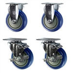 "4"" caster set with blue polyurethane wheels"