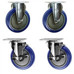 "5"" caster set with blue polyurethane wheels"