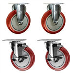 "5"" caster set with red polyurethane wheels"