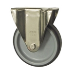 Metric Stainless Steel Rigid Caster with Top Plate and Polyurethane Wheel