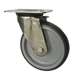 Blickle Stainless Steel Metric Swivel Caster with Top Plate and Polyurethane Wheel