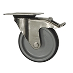 Blickle Stainless Steel Metric Swivel Caster with Top Plate, Polyurethane Wheel and Brake